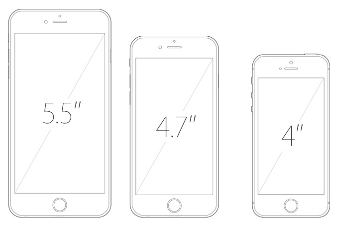Size comparison of the 6 Plus, the 6, and the rumored 6C.